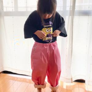 【サイズ比較】120サイズのバルーンパンツを三姉妹で試着してみました。