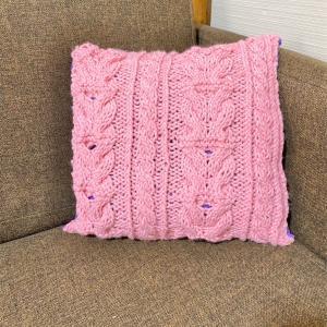 【縫い物×編み物】クッションカバー作りました。