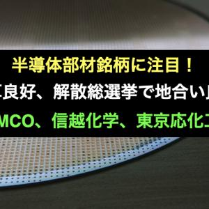 半導体部材銘柄に注目!TSMC決算良好、解散総選挙で地合い良くなる?
