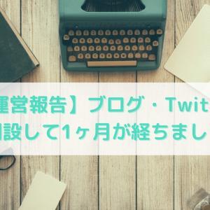 【運営報告】ブログ・Twitterを開設して1ヶ月が経ちました。