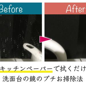 キッチンペーパーで拭くだけ!洗面台の鏡の毎日できるプチお掃除