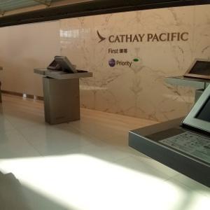 香港⑤Cathay Pacific航空「First Class check in・lounge(カバナ・浴泉居)Business Class CX500便 香港から成田