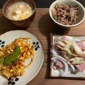 ごはんが進む♪鶏肉とキムチ豆もやし炒め 作ったよん