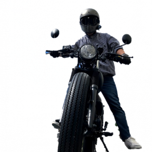 バイク乗りのコーデ28例目 ストライプシャツを使ったコーデ