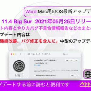 【macOS11.4 Big Sur】バグ不具合修正情報・新機能・変更点・いつ公開・インストール時間・やり方など