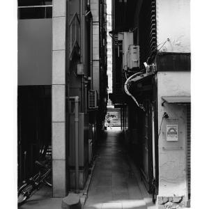 Very narrow alley between buildings in Ginza,Tokyo,Japan