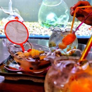 金魚を観ながら♪金魚鉢ソーダで日本の夏を大満喫!【きんぎょcafe 柳楽屋・陽だまり】