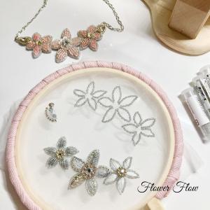 ビーズ刺繍お花のネックレス作っていまーす!