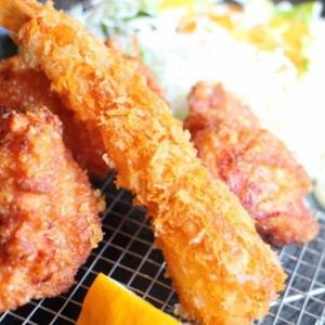 鶏唐&海老フライ定食を「佐久平食堂」で!