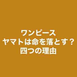 ワンピース考察&予想&妄想 ヤマト死亡?? 4つの理由妄想