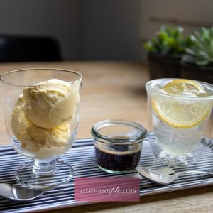 簡単おうちカフェ♪アフォガートと手作りハチミツレモンシロップで作るレモンスカッシュ