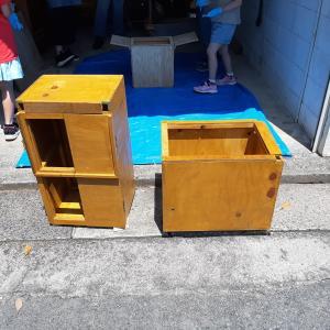 DIY!焼き芋を販売する時、子どもたちでも使用可能なかわいいサイズの荷車作り!