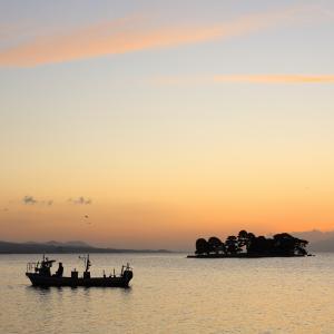 宍道湖 夕焼けからライトアップ