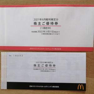 マクドナルドから株主優待券が届きました