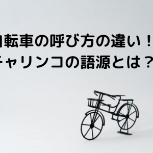 自転車の呼び方の不思議な違い!チャリンコ・ママチャリ・ケッタ!