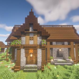 minecraftbuilds 木材と石の家