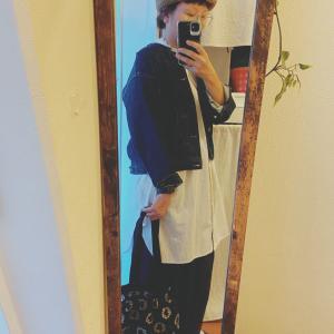 【40代コーデ】サマンサモスモスのノーカラーデニムジャケットを使ったコーデ♩【着画あり】