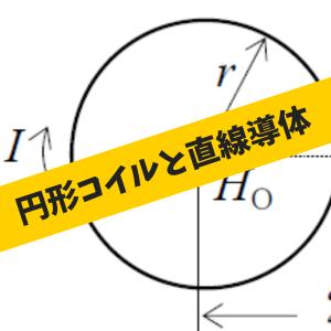 円形コイルと直線導体に流れる電流が作る合成磁界