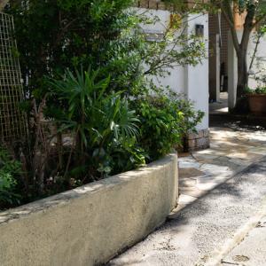 塀と床張り石関係を高圧洗浄機で洗浄