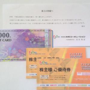 【優待到着】JCBギフトカード1,000円相当など:共和コーポレーション (6570)・2021年3月分