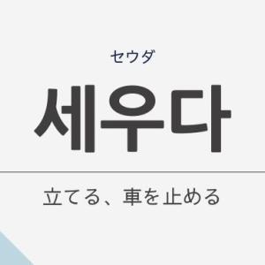 「立てる、車を停める」の韓国語「세우다 (セウダ)」の意味や文法を解説