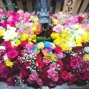 薔薇〓花手水〓レインボーローズ
