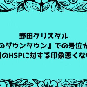 野田クリスタル『水曜日のダウンタウン』での号泣から考える、世間のHSPに対する印象悪くない説