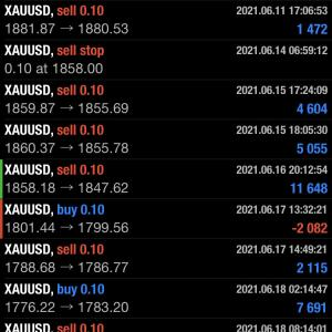 2021年6月14~18日(金)FXゴールドトレード履歴 +50,134円