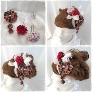 つまみ細工スリーポイント 造花 羽 髪飾りセット 3色