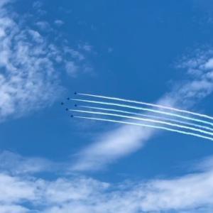 ブルーインパルス飛行  ♡五輪マーク♡ なんかオリンピックムード高まってきた我が家