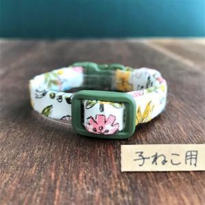 【新作】子猫用首輪 ボーダー、花柄