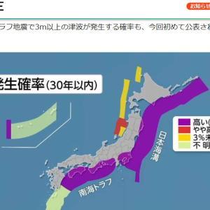 30年以内に来る南海トラフ地震 湘南への影響 高波10M未満 確率6%未満。