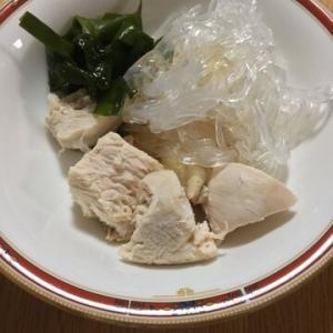 「はるさめと鶏ささみとわかめのぽん酢サラダ」鶏肉の旨味を感じます!