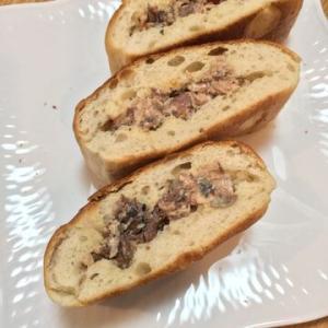 「フォカッチャパンで鯖缶サンド」調味料は味見して濃いめに入れてもOK