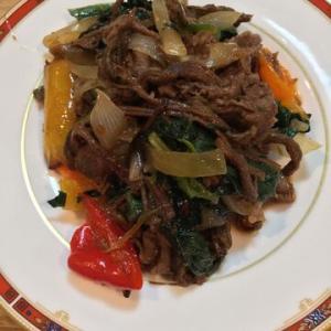 「横浜大飯店 中華街の牛肉のXO醤炒めがつくれるソース」ぜんまいも入れてみた!