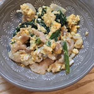 「余ったいなり寿司の皮の煮汁で、豚肉ほうれん草の煮物」味付けは濃くなく、薄くなく、適度