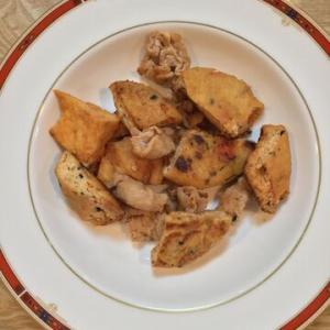 「厚揚げがんもと豚肉のケチャップ&ウスターソース炒め」ウスターソースで洋食屋さんの味!