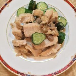 「鶏肉ささみときゅうりの金山寺味噌中華風炒め」オイスターソースでより中華風に