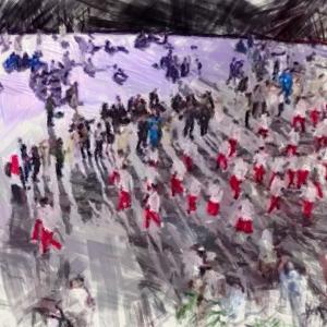 【漫画】  東京オリンピック 開会式 。漫画の吹き出し風プラカードを使って、いろんな人達を出場させてみた。