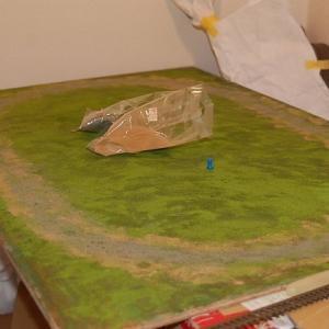 鉄道模型試験走行用小型レイアウトを作る (パウダー工程終了)