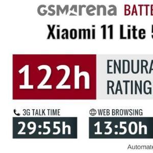 「Mi(Xiaomi)11 Lite 5G NE」海外のGSMArenaレビューで電池性能の改善が判明!