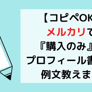 【コピペOK】メルカリで『購入のみ』のプロフィール書き方・例文教えます