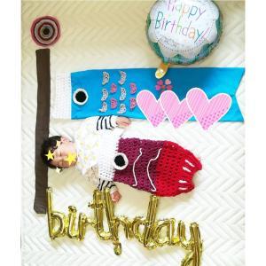 こいのぼり寝相アート☆1才のお誕生日☆離乳食ケーキも作りました。