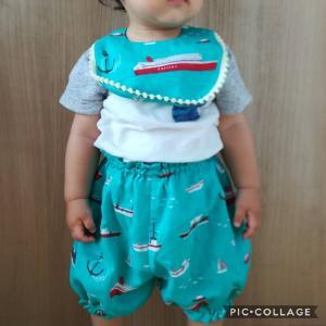 【三兄弟おそろいコーデ】夏らしい舟柄のダブルガーゼで、130,110,90サイズのズボンを作りました!余った布でスタイも♪