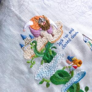ジャックと豆の木の刺繍とぬり絵