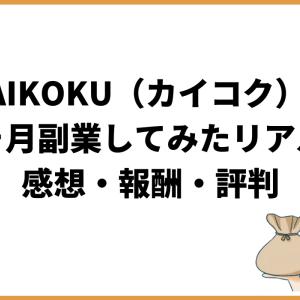 KAIKOKU(カイコク)で5ヶ月副業してみたリアルな感想・報酬・評判を語ります