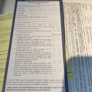 インドネシア入国の書類の機内書込み