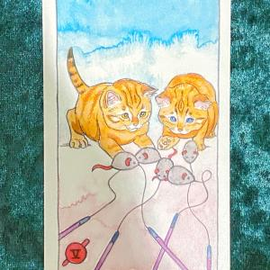 今日の猫のタロット【ワンドの5】