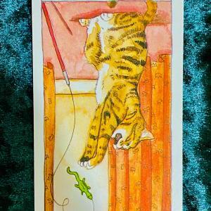 今日の猫のタロット【ワンドのキング】(逆位置)