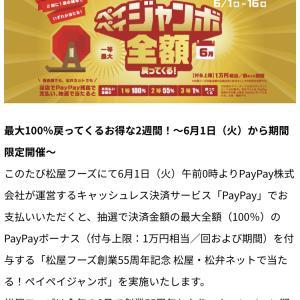 6月PayPayジャンボキャンペーン中